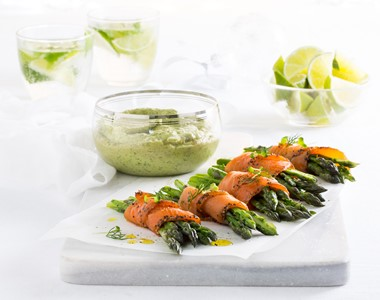 Regal King Salmon With Asparagus, Avocado & Herb Dipping Sauce